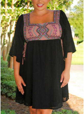 Plus Size Print 3/4 Sleeves Flare Sleeve A-line Above Knee Boho Casual Vacation Dress