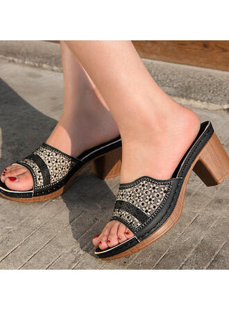 Women's PU Chunky Heel Sandals Pumps Peep Toe Slippers Heels With Hollow-out Splice Color shoes