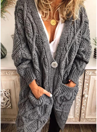 Solid Cable-knit Chunky knit Pocket V-Neck Casual Long Cardigan