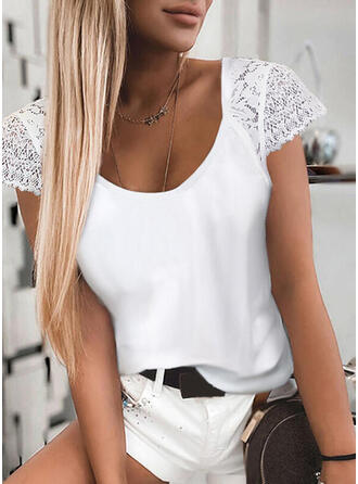 Solid Lace Round Neck Short Sleeves Casual Blouses