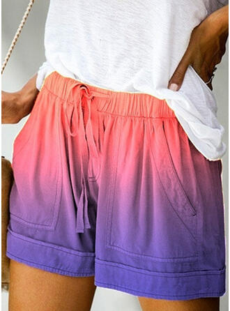 Pockets Plus Size Gradient Above Knee Boho Casual Shorts