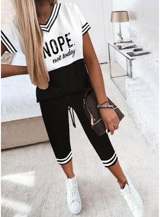Color Block Print Letter Casual Plus Size Two-Piece Outfits