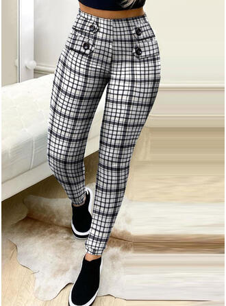 Plaid Plus Size Elegant Sexy Pants
