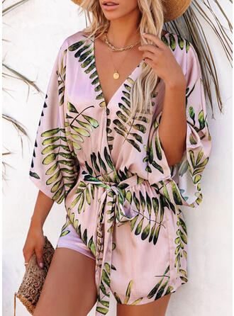 Print Leaves V-Neck 3/4 Sleeves Casual Vacation Romper