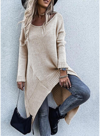 Solid Long Sleeves Dropped Shoulder Casual Sweater Dresses
