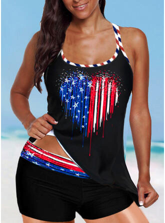 Flag Star Strap U-Neck Vintage Plus Size Tankinis Swimsuits