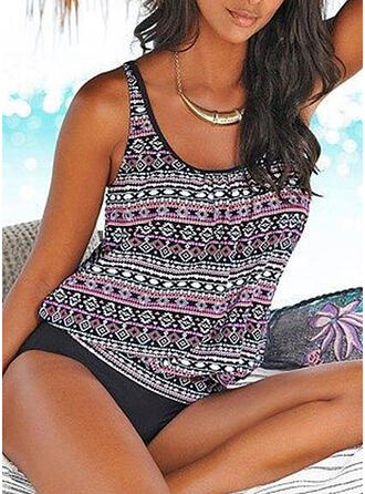 Print Strap U-Neck Elegant Retro Tankinis Swimsuits