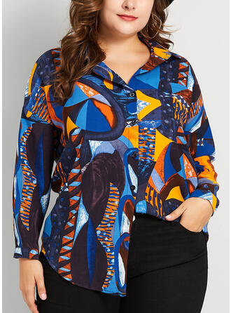 Print Lapel Long Sleeves Button Up Casual Plus Size Blouses