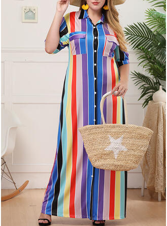 Plus Size Striped Short Sleeves Shift Maxi Casual Vacation Dress