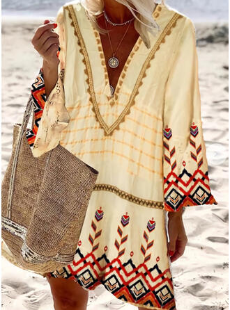 Print Long Sleeves Shift Knee Length Boho Tunic Dresses