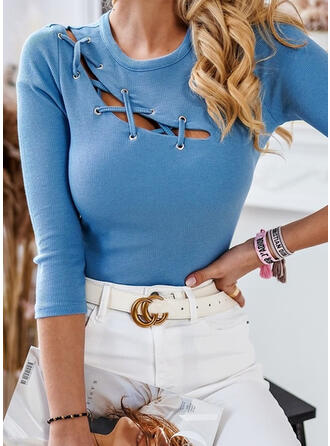 Solid Round Neck Long Sleeves Sexy Blouses