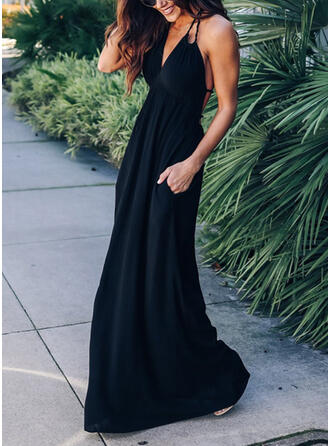 Solid Sleeveless A-line Slip/Skater Little Black/Sexy/Vacation Maxi Dresses