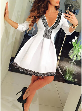 Lace/Solid 3/4 Sleeves A-line Above Knee Party Skater Dresses
