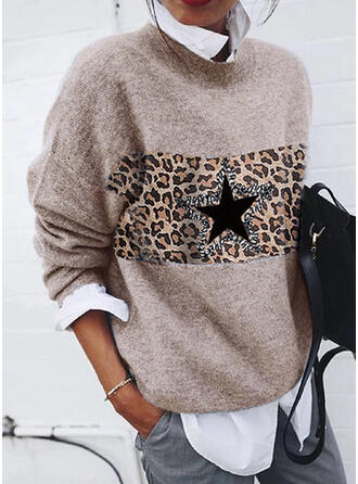 Print Leopard Round Neck Casual Sweaters