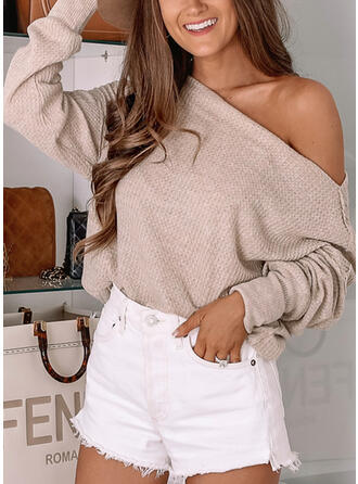 Solid One Shoulder Casual Knit Tops
