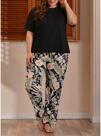 Polyester Floral Patchwork Plus Size Round Neck Short Sleeves Pyjama Set