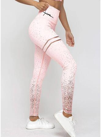 Striped Sequins Casual Sporty Yoga Leggings