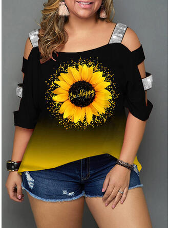 Sunflower Print Print Cold Shoulder 3/4 Sleeves Plus Size Casual