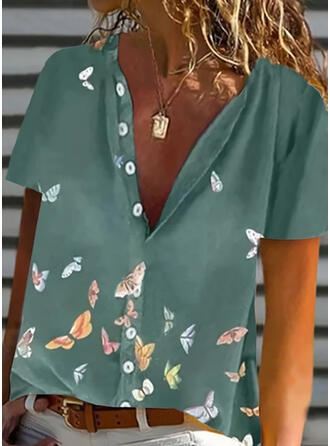 Animal Print V-Neck Short Sleeves Button Up Casual Shirt Blouses