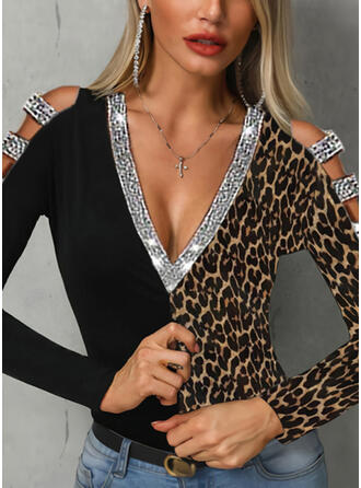 Color Block Sequins Leopard Cold Shoulder Long Sleeves Casual Blouses