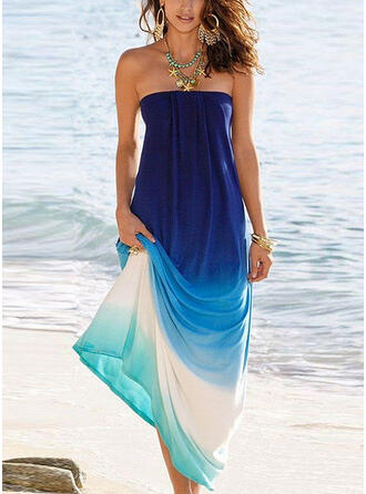Gradient Sleeveless A-line Vacation Maxi Dresses