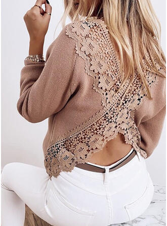 Solid Lace Round Neck Casual Sexy Sweaters