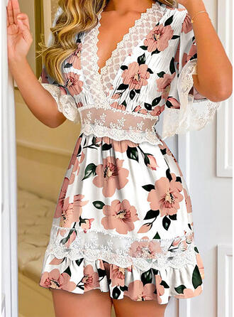 Print/Floral Lace 1/2 Sleeves Flare Sleeve A-line Above Knee Casual Skater Dresses