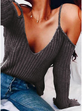 Solid Cold Shoulder Long Sleeves Casual Sexy Knit Blouses