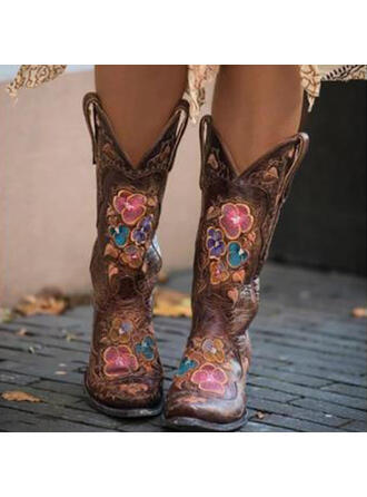 Women's PU Chunky Heel Mid-Calf Boots Riding Boots With Embroidery shoes
