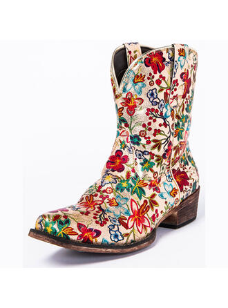Women's PU Chunky Heel Round Toe Riding Boots With Flower shoes