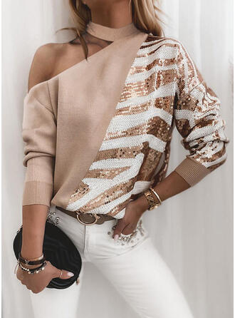 Sequins One Shoulder Casual Sweaters