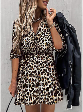 Leopard 1/2 Sleeves A-line Above Knee Casual Skater Dresses