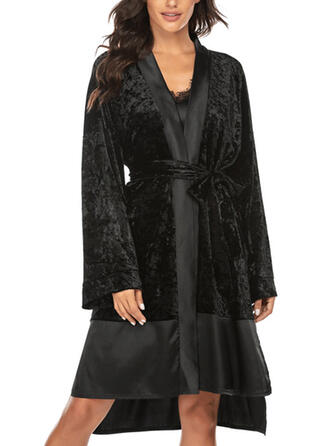Polyester Plain Patchwork Deep V Plush Robe