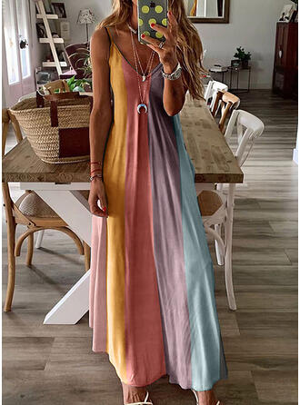 Color Block Sleeveless A-line Slip Casual/Vacation Maxi Dresses