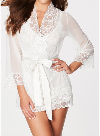 Polyester Spandex Lace Lace Plain Robe Night Dress
