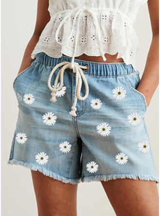 Print Pockets Shirred Plus Size Above Knee Boho Casual Floral Shorts