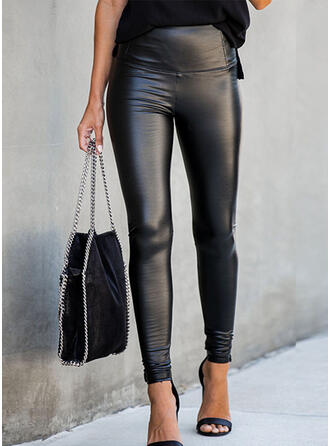 Solid Shirred Long Sexy Skinny Leather Pants Leggings