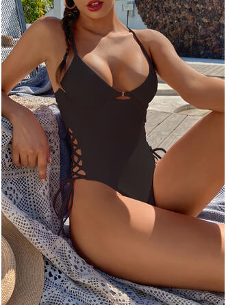 Solid Color Knotted Cross Halter V-Neck Sexy Fashionable Casual One-piece Swimsuits