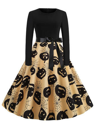 Print Long Sleeves A-line Knee Length Party/Halloween Skater Dresses