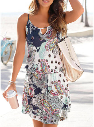 Print Sleeveless Sheath Above Knee Casual/Boho/Vacation Slip Dresses