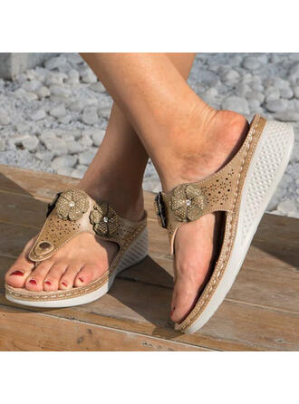 Women's PU Wedge Heel Sandals Platform Wedges Peep Toe Flip-Flops Slippers With Hollow-out Floral Print shoes