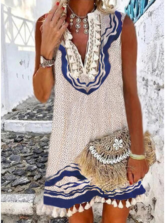Lace/Print/PolkaDot/Tassel Sleeveless Shift Above Knee Boho/Vacation Dresses