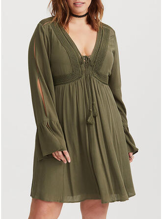 Plus Size Lace Solid Long Sleeves A-line Above Knee Casual Dress