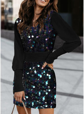 Sequins Round Neck Casual Long Tight Sexy Sweater Dress