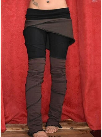 Patchwork Shirred Plus Size Casual Tribal Leggings