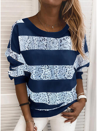Striped Lace Round Neck Long Sleeves Sweatshirt