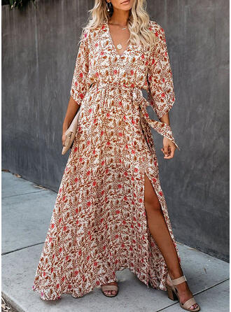 Print/Floral 3/4 Sleeves A-line Wrap/Skater Casual/Boho/Vacation Maxi Dresses