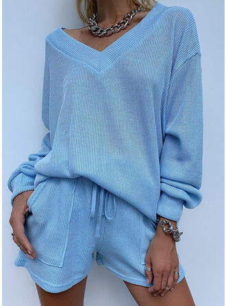 Solid Sporty Casual Sweatshirts & Two-Piece Outfits Set