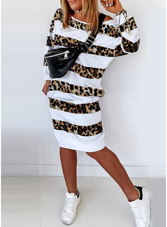 Striped/Leopard Long Sleeves Sheath Knee Length Casual Sweatshirt Dresses