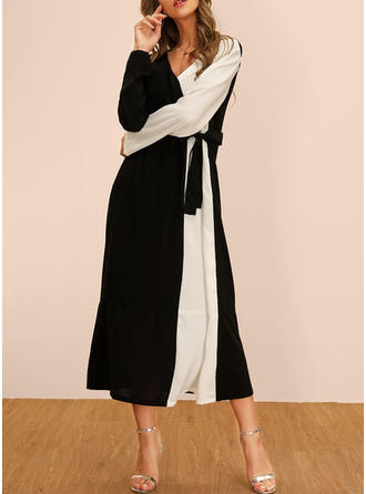 Color Block Long Sleeves Shift Tunic Casual/Party Midi Dresses